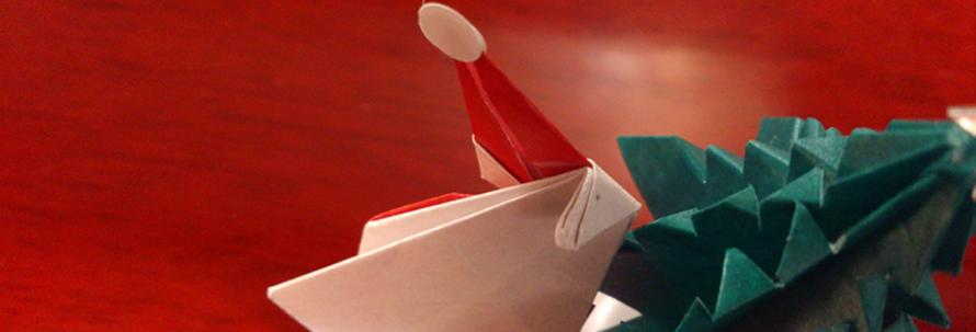 クリスマスツリーとサンタクロース折り紙